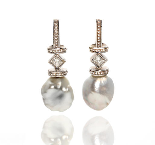 A pair of colored keshi pearl and diamond earrings