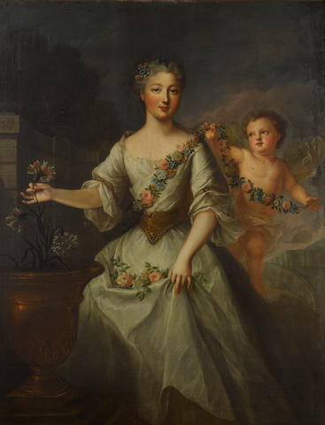 Circle of Jean Marc Nattier (Paris 1685-1766) A portrait of a daughter of Louis XV 53 x 40 3/4in (134.5 x 103.5cm)