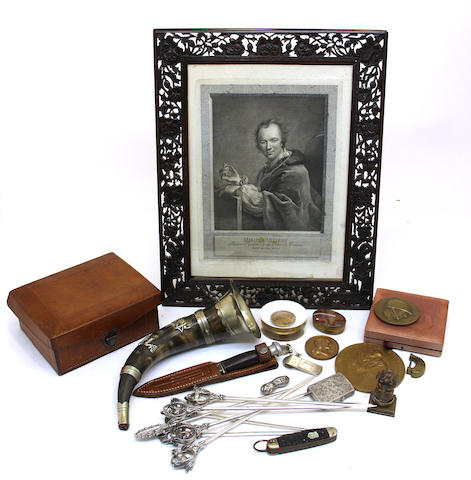 A grouping of medals and gentleman's accessories 19th/20th century