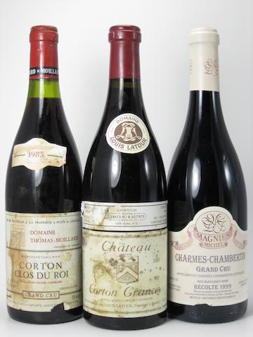 Château Corton Grancey 1985 (2)  Echezeaux 1985 (1)  Corton, Clos du Roi 1985 (2)  Morey St. Denis, Clos de la Bussiere 1989 (1)  Charmes Chambertin 1999 (2)  Charmes Chambertin, Cuvée Unique 2000 (2)