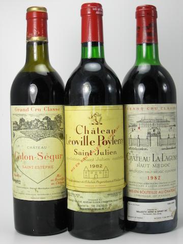 Château Calon-Ségur 1982 (3)<BR />Château Haut Bages Liberal 1982 (1)<BR />Château Léoville-Poyferré 1982 (1)<BR />Château La Lagune 1982 (3)<BR />Château La Lagune 1986 (1)<BR />Château Sociando Mallet 1986 (1)<BR />Château Gruaud-Larose 1989 (1)<BR />Château Léoville-Barton 1989 (1)