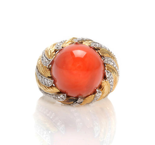 A coral and diamond bombé ring, Kutchinsky, London,