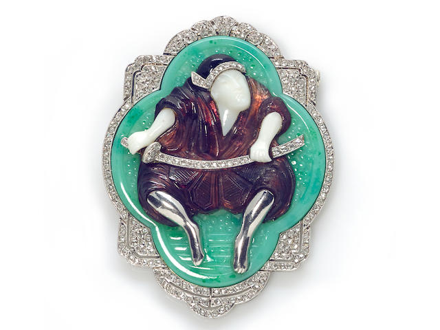 "A diamond and pâte de verre ""Samurai"" brooch, French,"
