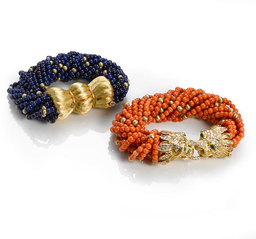 A coral, diamond and emerald torsade bracelet together with a lapis lazuli bracelet