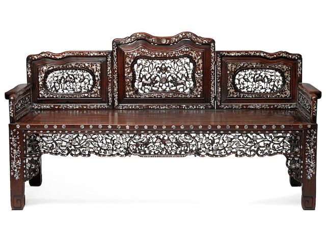 A set of mother-of-pearl inlaid hongmu furniture 20th century