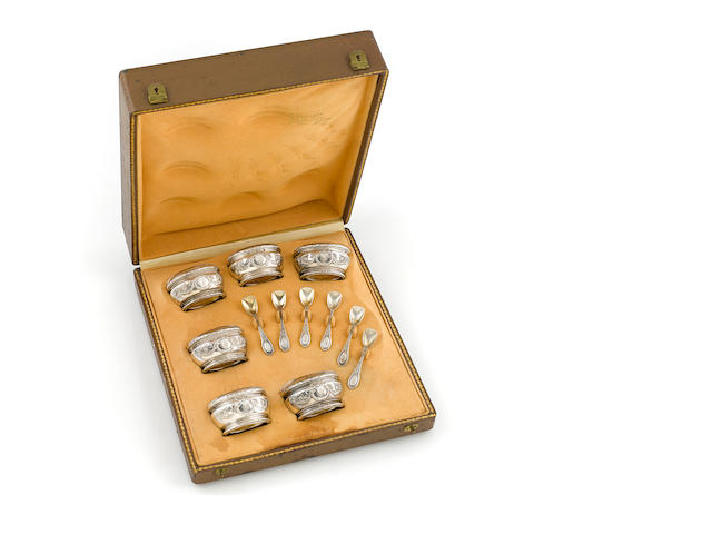 A cased set of six French  first standard silver  salt cellars and spoons by Henri Soufflot, Paris; retailed by A. Varesse, Lille,  circa 1900