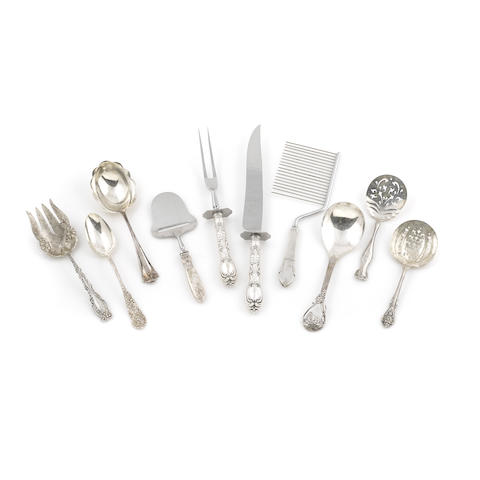 An assembled group of American sterling silver flatware and serving pieces by various makers, 20th century