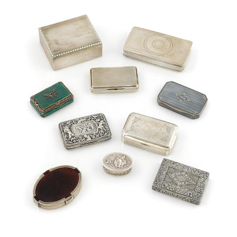 An assembled group of ten American and Continental silver boxes by various makers, 19th / 20th century