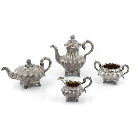 A William IV / Victorian sterling silver four piece gourd-form tea and coffee service by Albert and Joseph Savory II, London 1837-1839