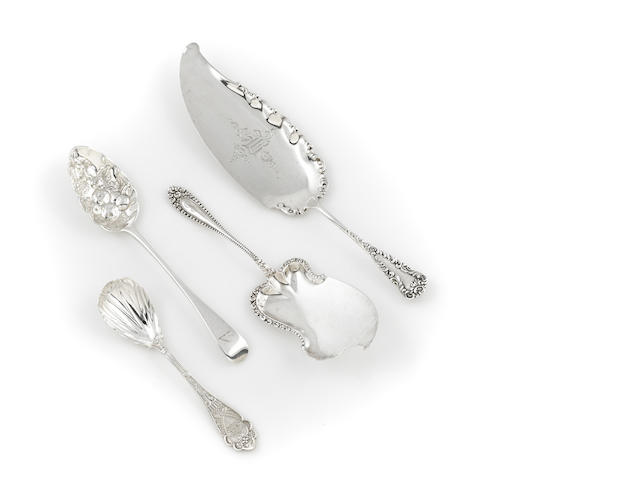 An assembled group of four silver flatware serving pieces
