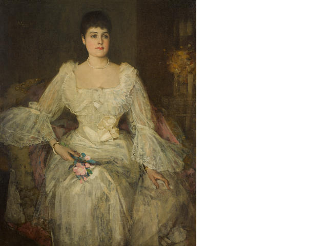 Sir John Lavery R.A., R.S.A., R.H.A. (1856-1941) A lady in white (A portrait of Lady Lyle) 50 1/4 x 40 1/2in (127.8 x 102.3cm)