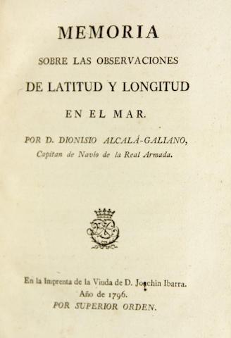 ALCALA-GALIANO, DIONISIO. 1760-1805. Memoria sobre las observaciones de latitud y longitud en el mar. [Madrid]: Joachin Ibarra, 1796.