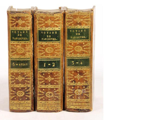 VANCOUVER, GEORGE. 1757-1798. Voyage de découvertes, à l'Océan Pacifique du nord, et autour du monde. Paris: Didot Jeune, An X [1801-2].