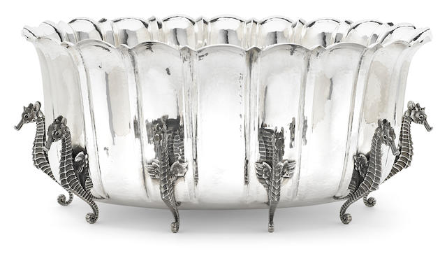 An Italian  sterling silver  fluted oval centerpiece bowl by Mario Buccellati, Milan,  20th century