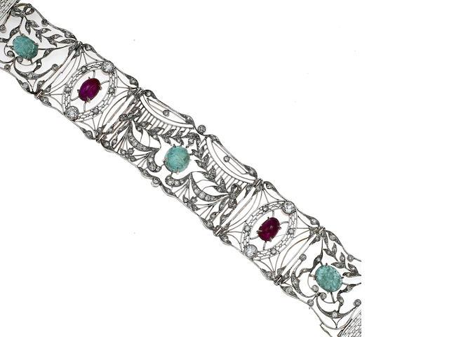 An emerald, ruby and diamond openwork bracelet