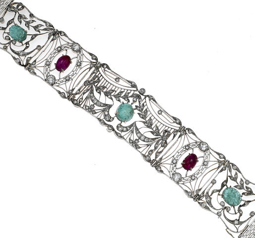An emerald, ruby and diamond openwork bracelet