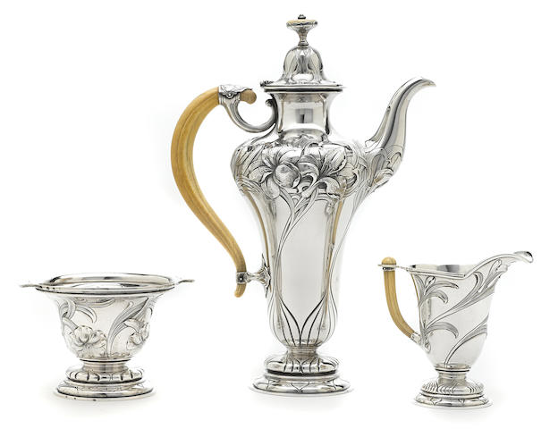 An American  sterling silver  Art Nouveau three-piece black coffee service by Gorham Mfg. Co., Providence, RI, circa 1910