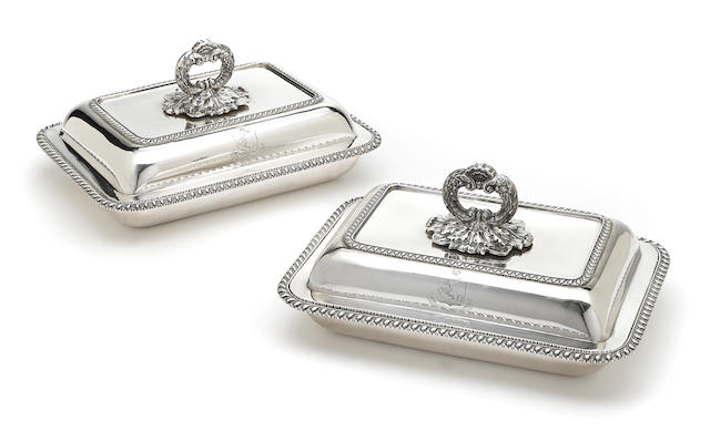 A pair of George IV sterling silver covered entree dishes by Benjamin Smith III, London, 1821