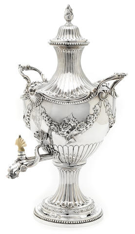 A George II  sterling silver hot water urn by Francis Butty and Nicholas Dumee, London,  1759