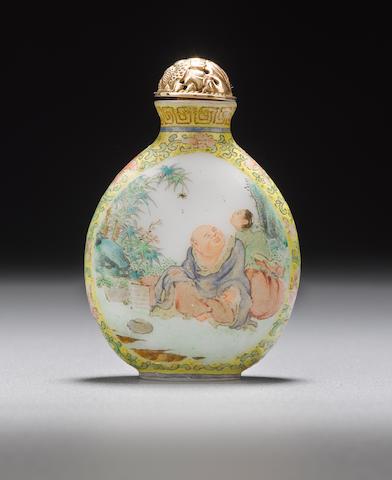 An enameled milk glass snuff bottle 1800-1870