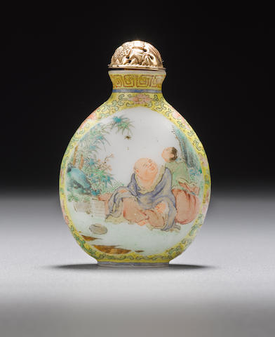 An enameled milk glass snuff bottle  1800-1870