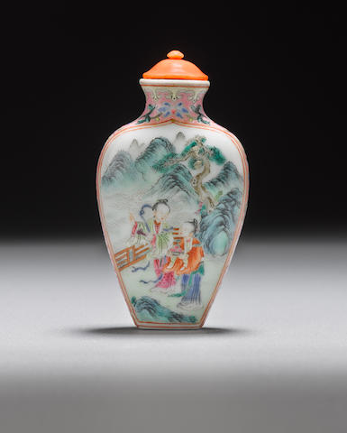 A porcelain snuff bottle with famille rose enamels Jiaqing mark and of the period