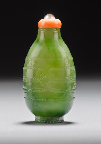 An inscribed green nephrite snuff bottle 1780-1823