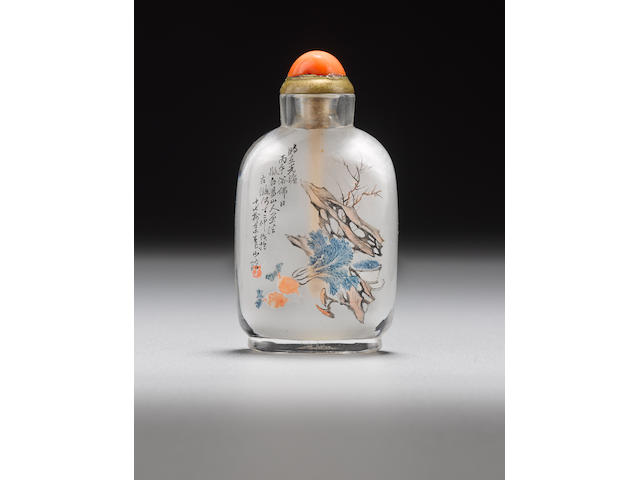 An inside painted glass snuff bottle Ding Erzhong, dated 1906