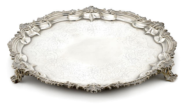 A George III sterling silver circular footed salver by Edward Jay, London, 1792