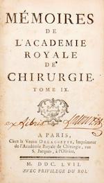Memoires de l'Academie Royale de Chirurgie. Paris: Osmont, [Le Prieur, Didot, et al,] 1743[-74]. 8vo ed.