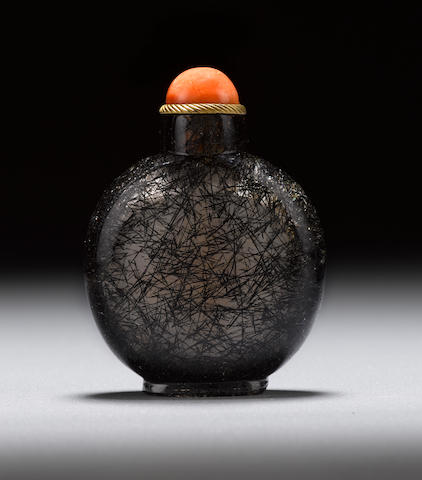 A hair crystal snuff bottle  1750-1880