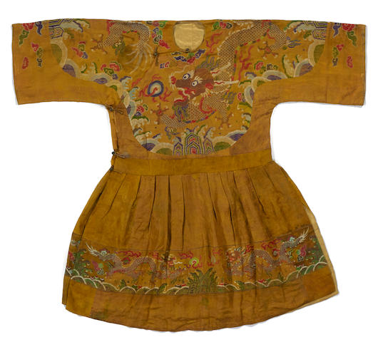 A yellow ground silk brocade formal court robe, chaopao Kangxi period
