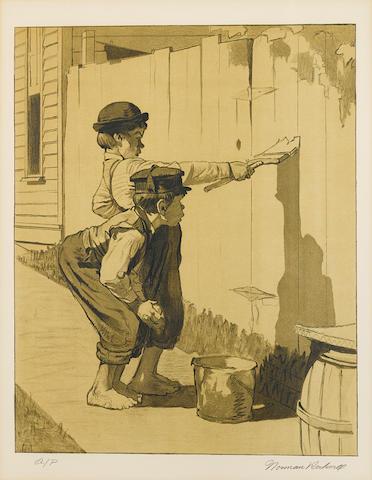 Norman Rockwell (American, 1894-1978); Tom Sawyer portfolio: with (2) framed;