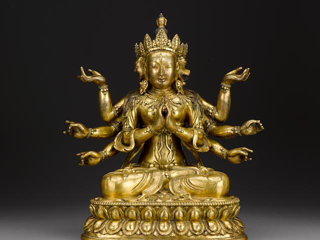 A gilt copper alloy figure of Marichi Qing dynasty, 18th century