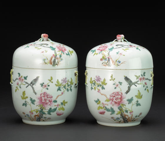 A pair of famille rose enameled deep serving bowls and covers Hongxian marks, 20th century