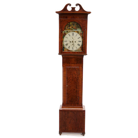 A Regency Scottish inlaid mahogany tallcase clock