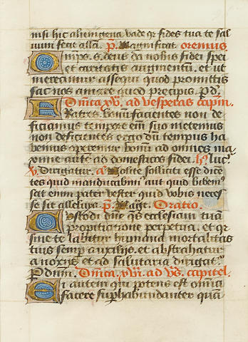 ILLUMINATED MANUSCRIPT LEAF. A single leaf of a medieval illuminated manuscript on vellum, Lyon, France, ca.1430,