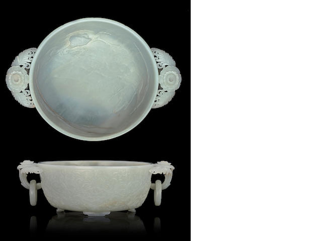 A finely carved white jade marriage bowl  17th/18th century