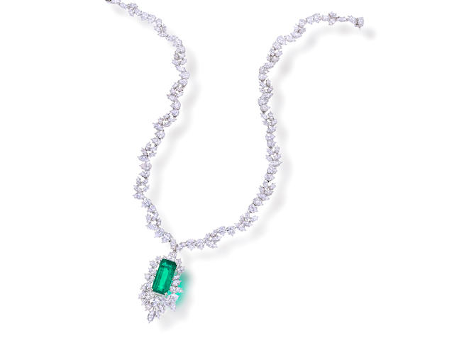 An emerald and diamond necklace, Harry Winston