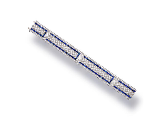 An art deco diamond and sapphire bracelet, Oscar Heyman & Brothers,