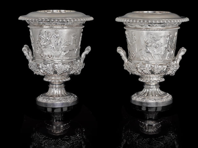 A pair of George IV sterling silver wine coolers by John Edward Terrey, London, 1827