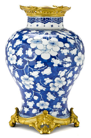 A French gilt bronze mounted Chinese blue and white porcelain baluster vase  porcelain Kangxi period (1662-1722) bronze 19th century