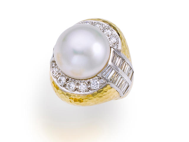 A cultured pearl and diamond ring, David Webb