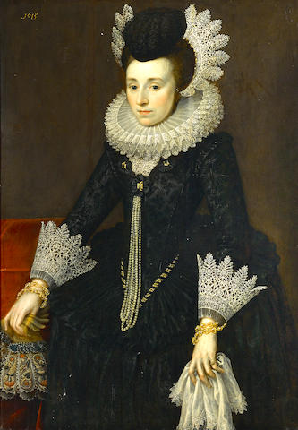 Anglo Dutch School, circa 1615 A portrait of a lady, three-quarter length, wearing a black dress 45 x 31 1/4in (114.3 x 79.3cm)