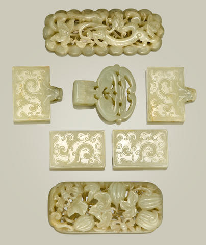 A group of seven jade plaques 18th century and later