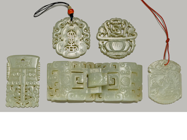 Four jade plaques and one buckle Republic period or earlier