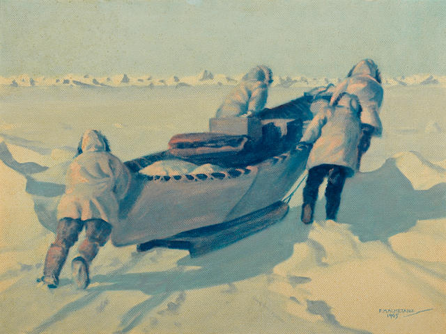 Fred Machetanz (American, 1908-2002) Out to the whaling camp, 1965 18 x 24in