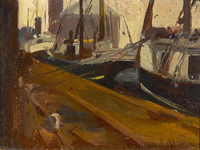 Franz Arthur Bischoff (American, 1864-1929) Terminal island, 1915 5 x 6 1/2in