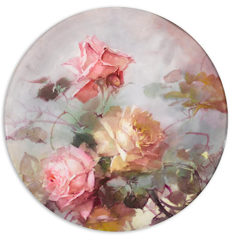 Franz Arthur Bischoff (American, 1864-1929) Tray with pink and yellow roses diameter: 13 1/2in