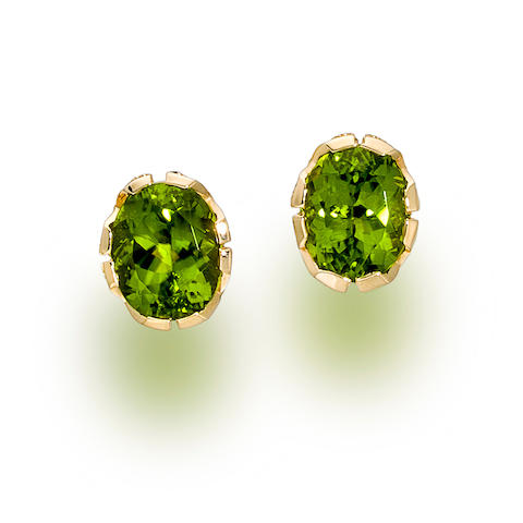 A pair of peridot and diamond earclips, Paloma Picasso for Tiffany & Co.